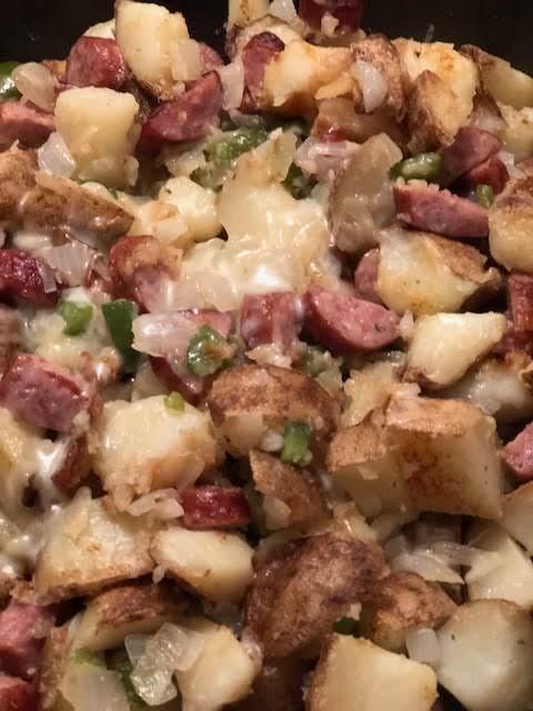 Pototato Kielbasa Peppers And Onion Skillet Dinner Recipe