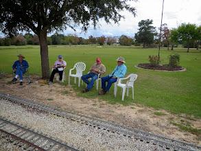 Photo: Waiting for the call.  Gary McCoy, Mary Lou Pasley, Bob Barnett, and Ed Rains.       2013-1116 RPW
