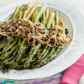 Roasted Asparagus with Shallots and Capers Recipe