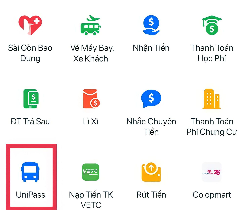 Vào ứng dụng Zalo Pay chọn mục UniPass ở trang chủ
