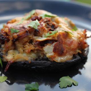3-Cheese Stuffed Portabella Mushrooms With Chicken, Artichokes, and Cauliflower Rice – Gluten Free.