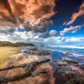 Removing night darkness by Assi Dvilanski - Landscapes Sunsets & Sunrises ( clouds, reflection, nature, beauty, beach, sunrise, sun )
