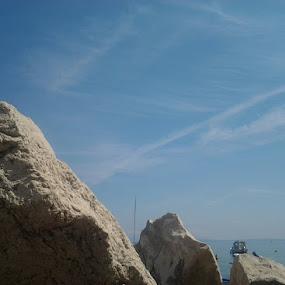 Stones and sea sky by Nat Bolfan-Stosic - Uncategorized All Uncategorized ( sky, boats, sea, coast )
