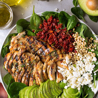 Grilled Chicken Sun Dried Tomato and Avocado Spinach Salad Recipe