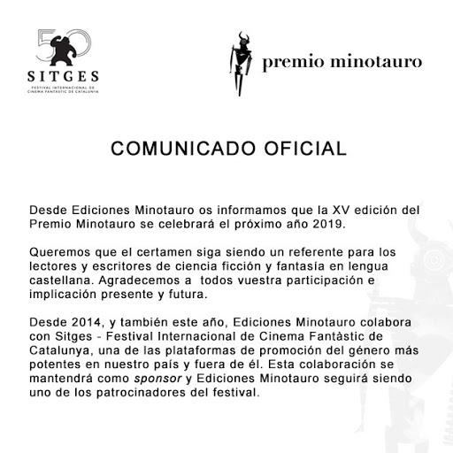 Comunicado Premio Minotauro