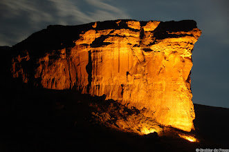 "Photo: The Brandwag (sentinel) in the Golden Gate Highlands National Park (South Africa). The park's most notable features are its golden, ochre, and orange-hued deeply eroded sandstone cliffs and outcrops. ""Golden"" origins from the golden colour when the last rays of the setting sun fall on the cliffs and  ""Gate"" refers to the Brandwag (Sentinel) standing guard at the entrance to the park"