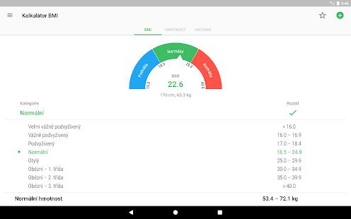 BMI kalkulačka - hubnutí - náhled