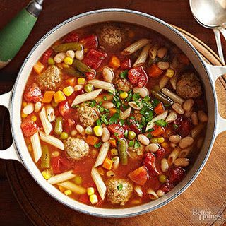 Meatball and Vegetable Soup with Pasta.