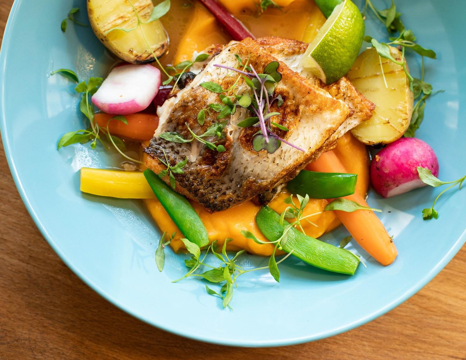 צלחת אוכל עם דג אפוי על מצע קרם בטטה צנונית תפוח אדמה ועלים