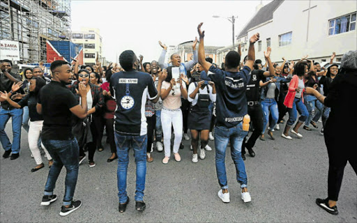 NO END IN SIGHT: Protest by nursing students from the University of Fort Hare in East London enters its third week. Picture: SINO MAJANGAZA