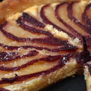 RED WINE POACHED PEAR and AMARETTO FRANGIPANE TART Recipe