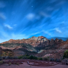 Labyrinth and Starry Sky by Phyllis Plotkin - Landscapes Starscapes ( mountains, zion national park, sky, stars, labyrinth, night )