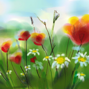 Poppies & Daisies by Darlene Lankford Honeycutt - Painting All Painting ( watercolor, dl honeycutt, paintings, flowers, watercolour, painting, photographs, skills, photoshop, program, pen, technical,  )