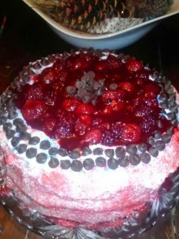 Coconut White Chocolate Cake Wine-soaked Berries