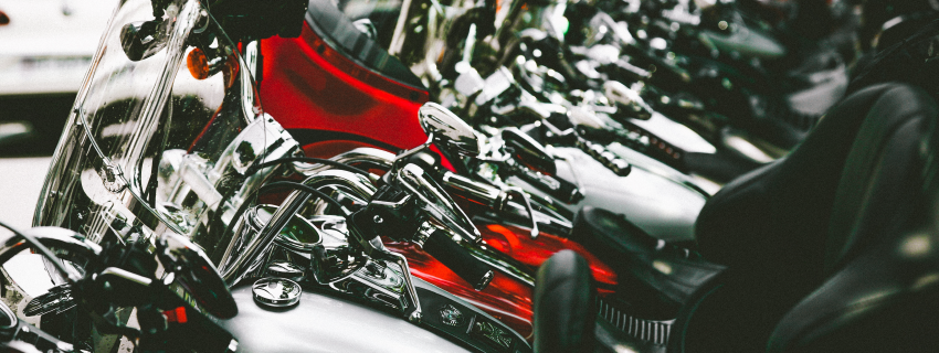 close up of motorcycles