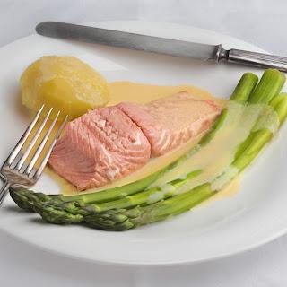 Steamed Salmon with Lemon Caper Cream Sauce.