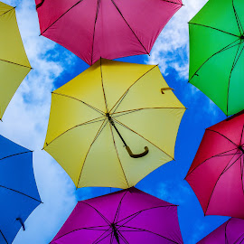 by Lourdes Olartecoechea - Artistic Objects Other Objects ( pink, art, blue, umbrella, sky umbrellas, yellow, abstract, umbrellas, colors )