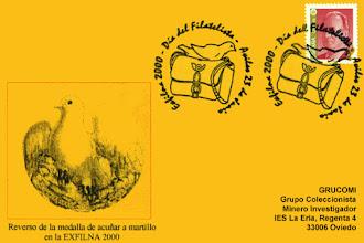 Photo: Tarjeta del matasellos del día del filatelista de Avilés 2000