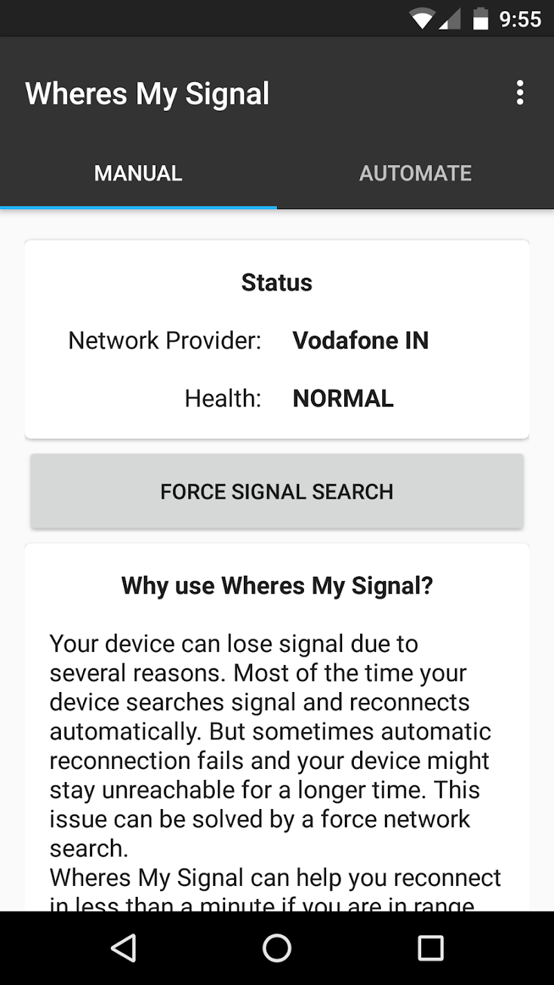 Wheres my Signal: Signal Refresher Screenshot 4