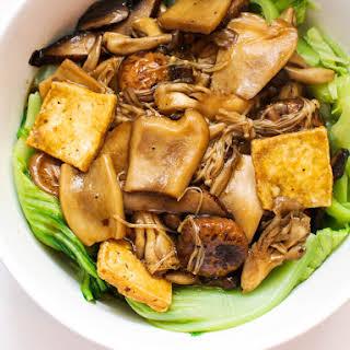 Mushrooms and Tofu With Chinese Mustard Greens.