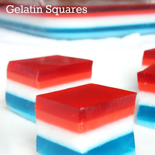 Layered Yogurt and Gelatin Dessert Squares.