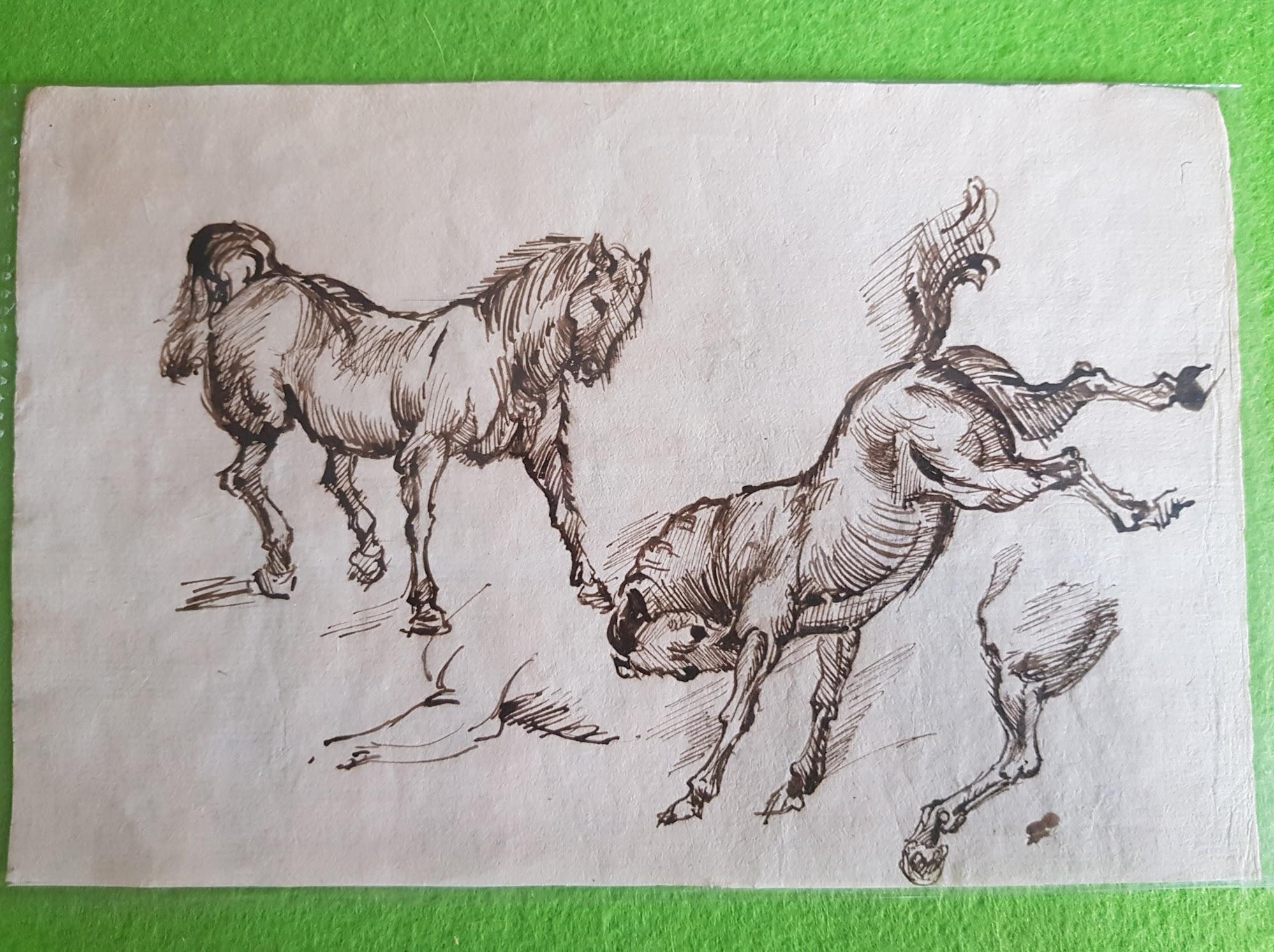 Tuschezeichnung Pferde