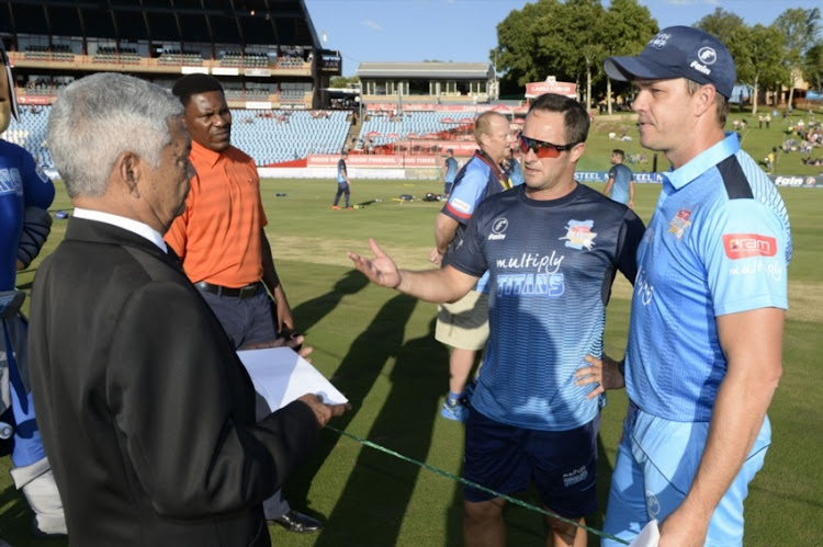 Tiffie Barnes speaks to Mark Boucher and Albie Morkel of the Titans during the RAM SLAM T20 Challenge, Semi Final match between Multiply Titans and Warriors at SuperSport Park on December 13, 2017 in Pretoria.