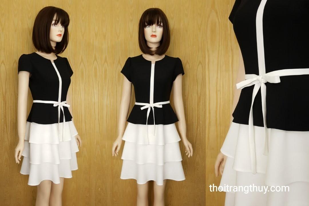 Váy xòe 3 tầng phối màu đen trắng V591 Thời Trang Thủy