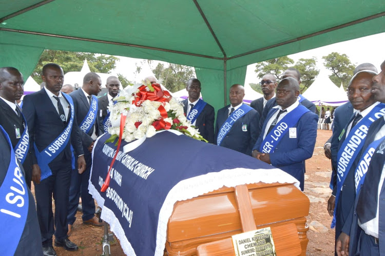 Mourners view the body of the late K24 journalist Daniel Chemjor at his Kiboino home in Baringo Central Sub-county on Saturday.