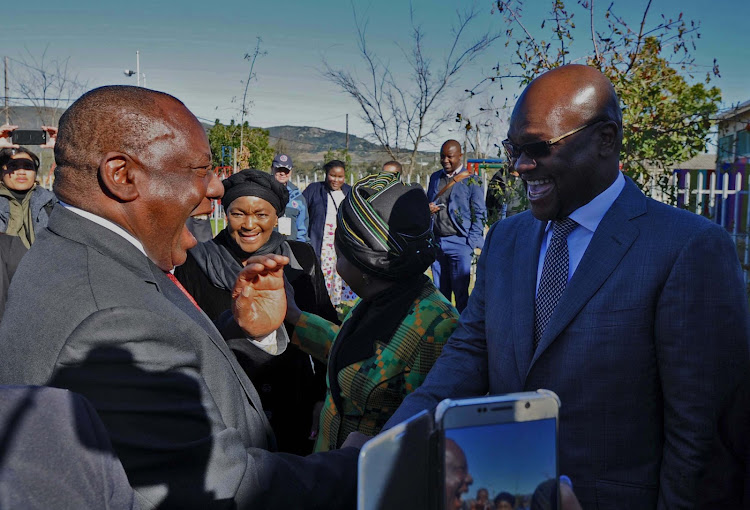 President Cyril Ramaphosa arrives at the Mbekweni Youth Centre in Paarl in the Western Cape, for the 2018 National Womens Day Celebrations. He is received by ministers in the presidency Bathabile Dlamini, minister of planning, monitoring and evaluation Nkosazana Dlamini-Zuma and minister of arts and culture Nkosinathi Mthethwa.