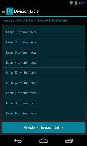 android Division Table Screenshot 0