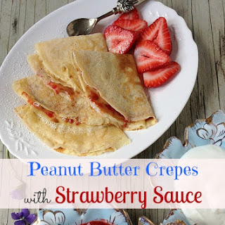 Peanut Butter Crepes with Strawberry Topping.