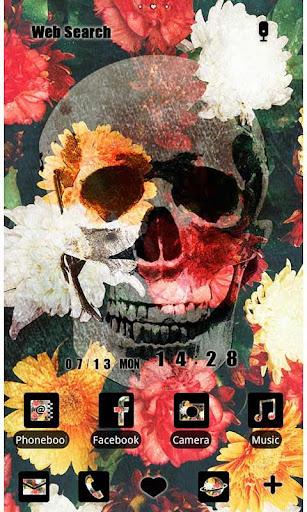 スカル壁紙・アイコン-Flower Skull-無料