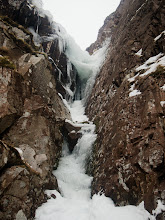 Photo: The initial ice pitch of Turquoise Gully (III)