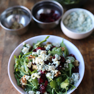 Arugula Salad with Walnuts, Blue Cheese and Cranberries