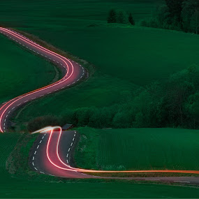 Lines by Thomas Bjørnstad - Landscapes Prairies, Meadows & Fields ( car, field, trail, long exposure, road,  )