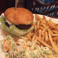 Beef burger with gluten free bun and gluten free fries. Amazing!