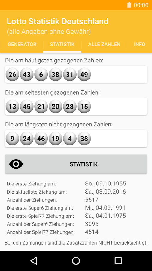Lotto Statistik Deutschland- screenshot