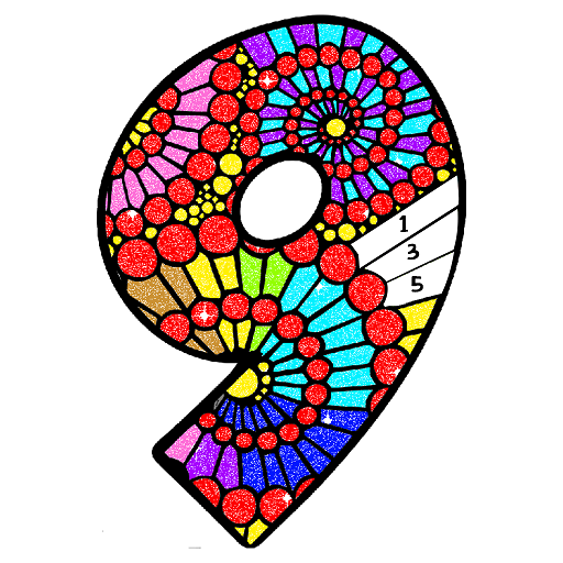 Numbers Glitter Color by Number - Adult Color Book Icon