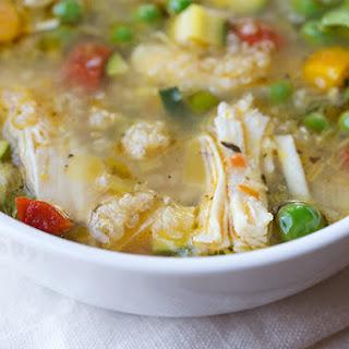 Simple Lemony Chicken & Spring Veggie Soup with Quinoa & Fresh Basil.