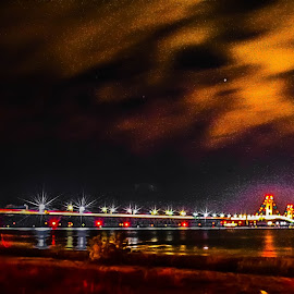 Mighty Mac. by Darrin Ralph - Buildings & Architecture Bridges & Suspended Structures ( michigan, lake michigan, night photography, bridge, nightscape )