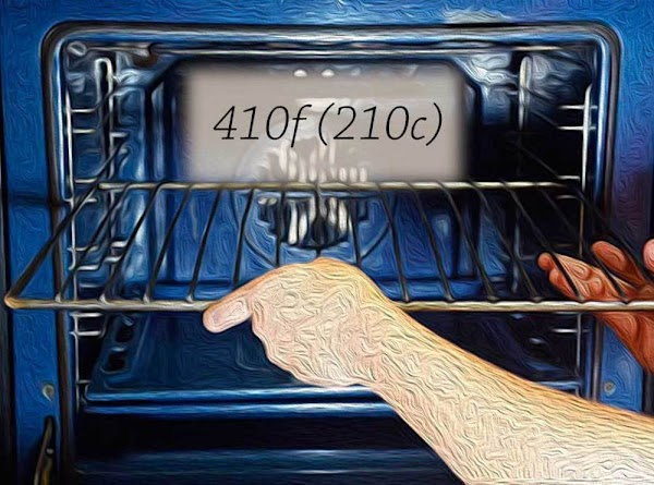 Place a rack in the middle position, and preheat the oven to 410f (210c).