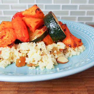 Harissa-roasted vegetables with couscous #SundaySupper.
