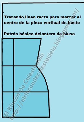 Empezar a marcar pinza vertical en patrón delantero de blusa