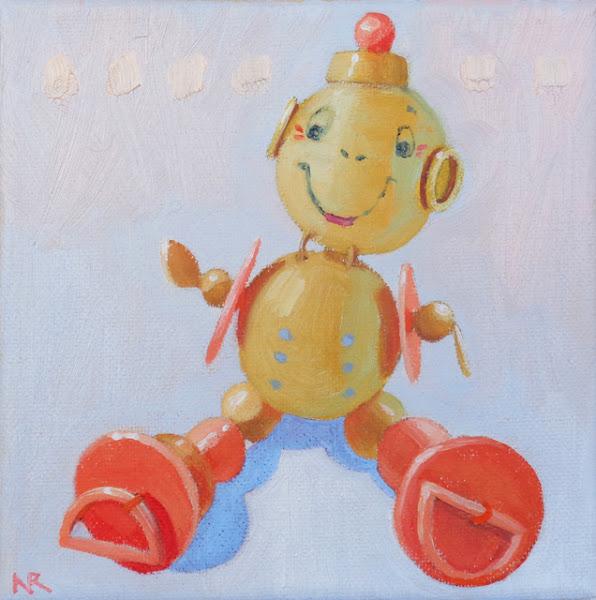 "Photo: ""Bead Buddy"", oil on canvas, 6"" x 6"", © Nancy Roberts"