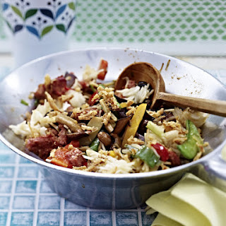 Vegetable Stir Fry with Pork and Rice.