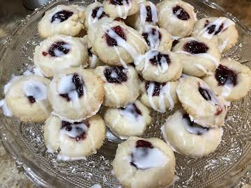Raspberry Almond Thumbprint  Cookies
