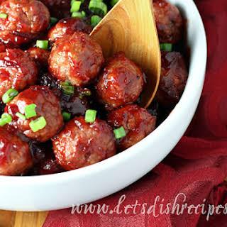 Quick Cranberry Glazed Meatballs.