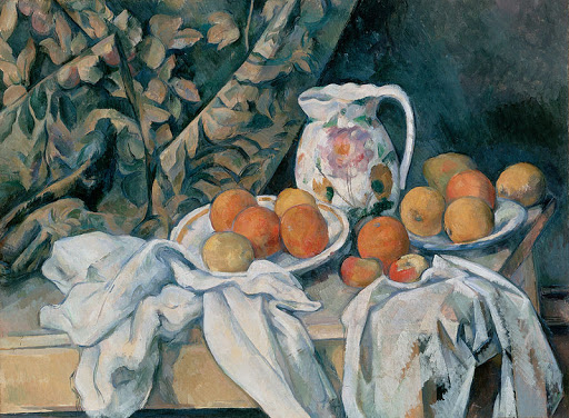 "Cezanne_Still_Life_with_a_Curtain - ""Still Life with a Curtain"" (1895), by Paul Cézanne at the Hermitage Museum in St. Petersburg, Russia."