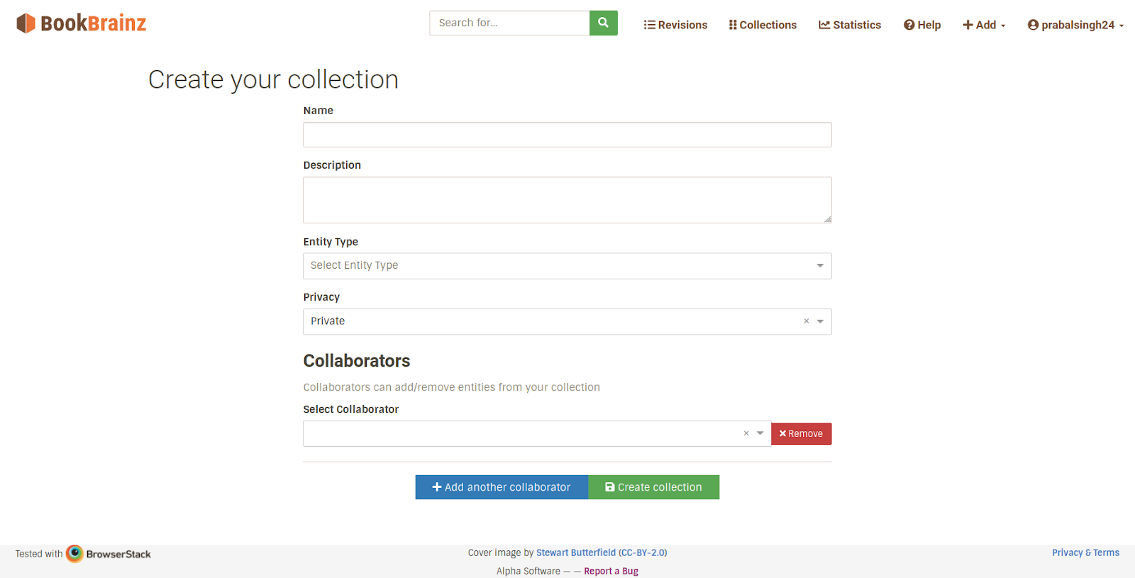 Screenshot of Collection creation page